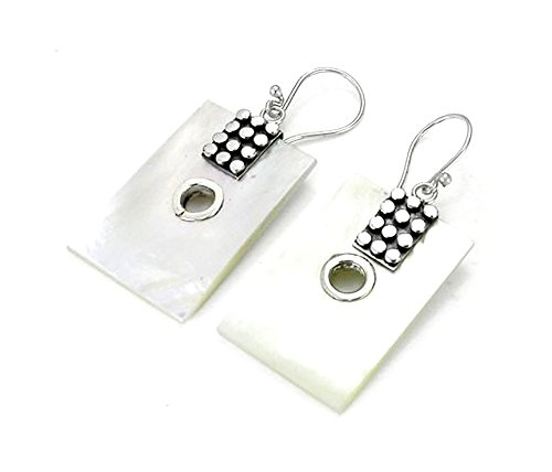 - Elementals Organics Mother of Pearl Rectangle Design # 17 with .925 Sterling Silver with 12 dots - Earrings - Price Per 2