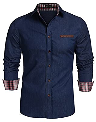 Simbama Men's Dress Shirts Slim Fit Long Sleeve Casual Button Down Shirts
