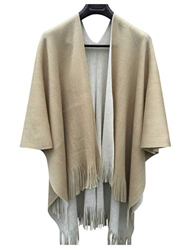ilishop Women's Winter Knitted Cashmere Poncho Capes Shawl Cardigans Sweater Coat Beige-Khaki Free