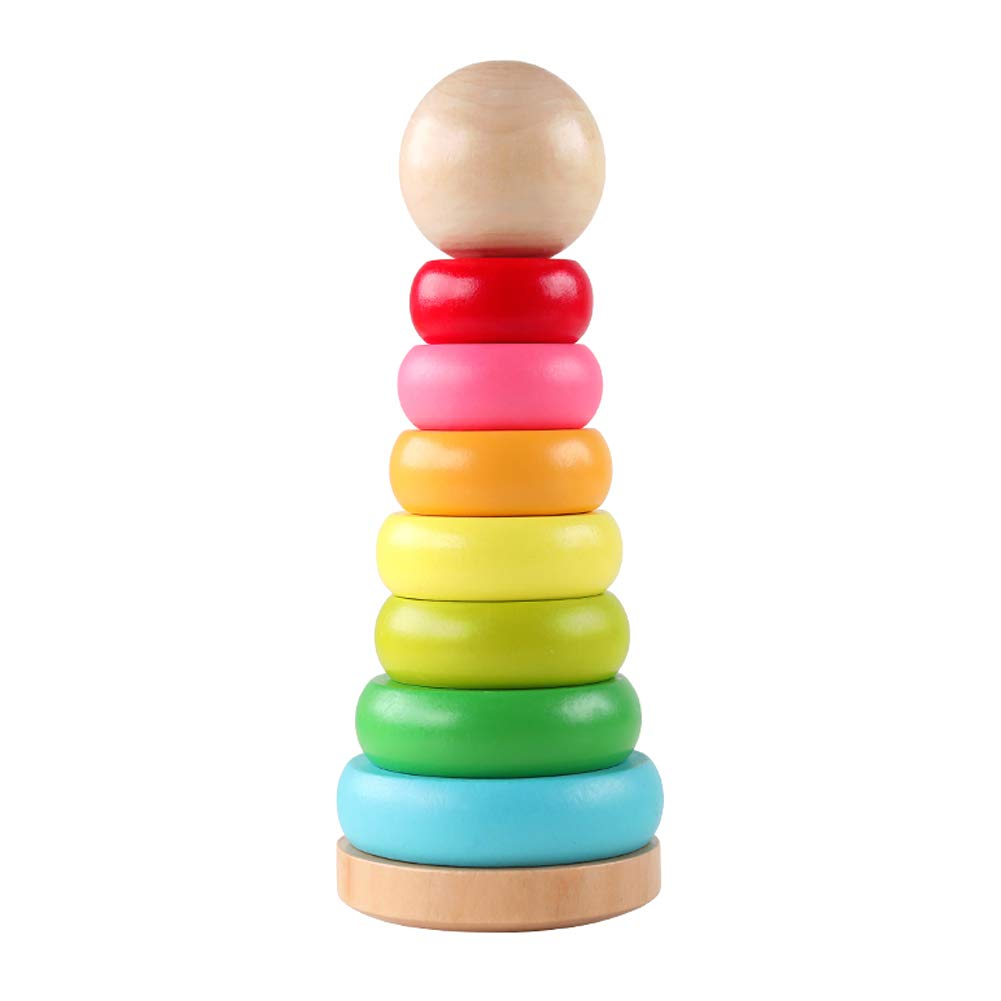 GEMEM 積み重ねおもちゃ レインボースタッカー 木製スタッキングリング 学習玩具 1歳、2歳児   B07QMKJW7G