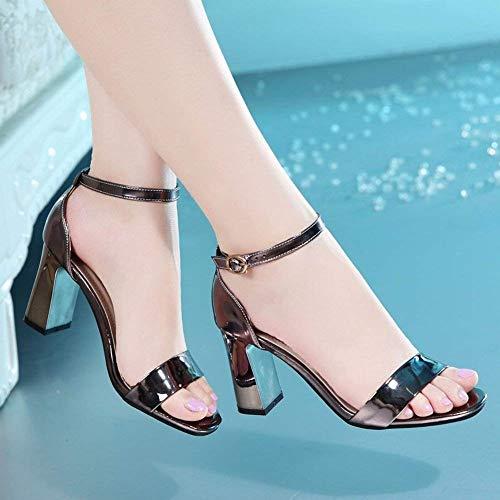 Épais Chaussures Femme Femmes Sandales Sangle Bout Boucle Sexy Ouvert Avec Noir Taille Hauts Argent Talons Mince Confortable 37 coloré Cheville À SwfIIA