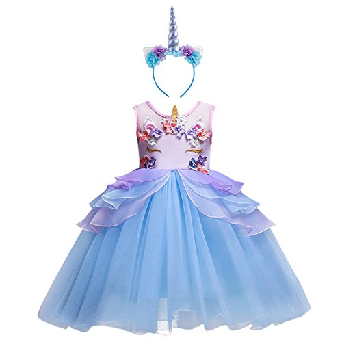 Little Girls Kids Flower Unicorn Birthday Halloween Cosplay Fancy Costume Tutu Dress up Lace Tulle Pageant Party Princess Dance Evening Gown Outfits Clothes Blue & Headband 4-5