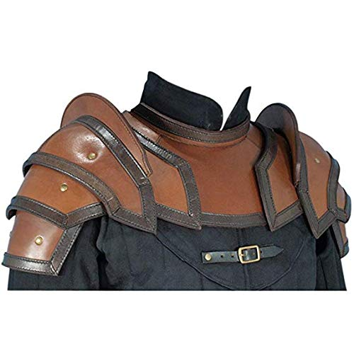 QUALITYMUSICSHOP Leather Shoulder Armor Pauldrons with Neck Guard Gorget