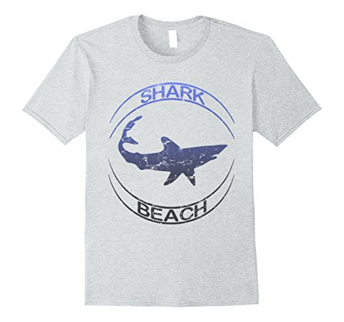 Mens Shark Beach Distressed Vintage Look Shark T Shirt XL Heather Grey