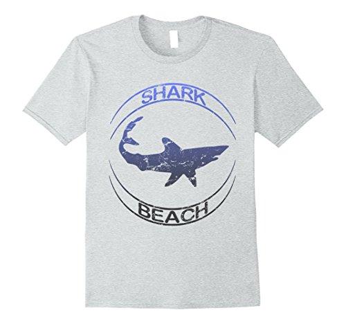 Mens Shark Beach Distressed Vintage Look Shark T Shirt XL Heather Grey