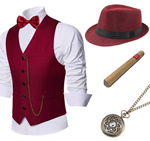 BABEYOND 1920s Mens Gatsby Gangster Vest Costume Accessories Set Manhattan Fedora Hat Bowtie Plastic Cigar Vintage Pocket Watch (Wine Red, -