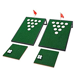 OOFIT Golf Chipping Target Set Combined Beer Pong with Chipping Mats, 2 x 3 FT – Tailgate Size