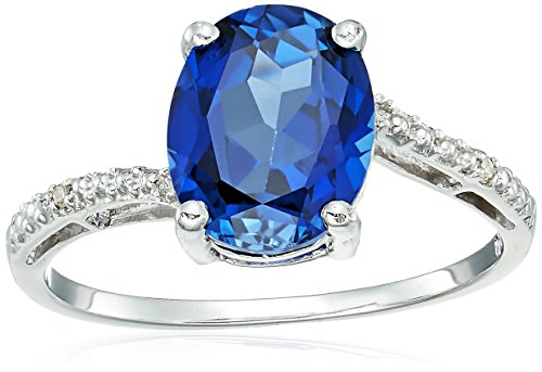 sterling silver lab-created sapphire ring with diamond accent ring, size 7 (Ring Sapphire Lab Created)