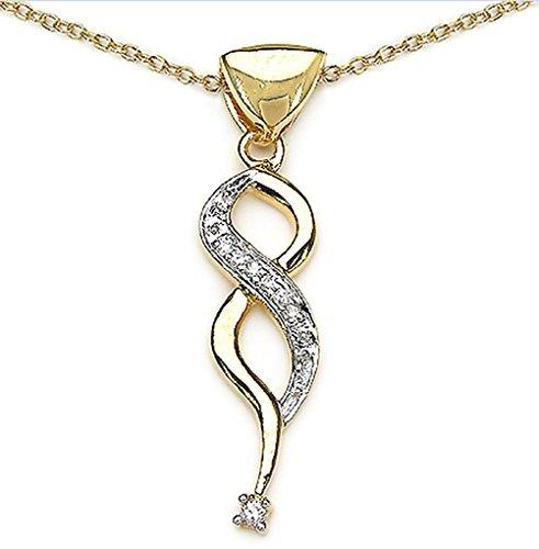 Bijoux-Schmidt-Collier avec pendentif zircon cubique blanc 10 carats en or argenté