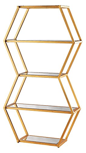 Vanguard Book Shelf In Gold Leaf And Clear Mirror by Dimond Lighting
