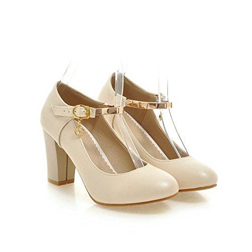 AgooLar Damen Eingelegt Weiches Material Hoher Absatz Schnalle Rund Zehe Pumps Schuhe