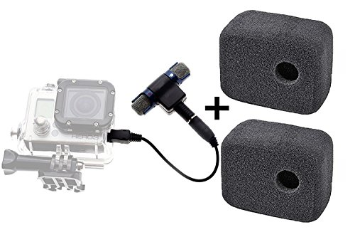 CAMZON 3.5mm Microphone Mic + Mic Adapter Cable + 2 Set foam windscreen for gopro Noise Reduce Muff Foam Case Noise Bundle Kit for GoPro Hero 3 Hero 3+ Hero 4