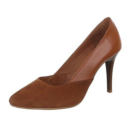 beige Zapatos de Tacón Design Ital Marrón Mujer camel xPqYpwTq
