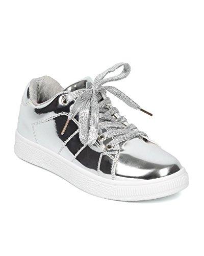 Indulge Women Mirror Metallic Sneaker - Lace Up Sneaker - Low Top Sneaker - Trendy Fashion Casual Versatile Comfort Sneaker - ANDI Silver Metallic