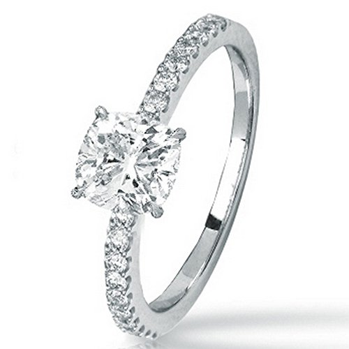 1.23 Cttw 14K White Gold Cushion Cut Classic Side Stone Prong Set Diamond Engagement Ring with a 1 Carat D-E Color VS1-VS2 Clarity Center Image