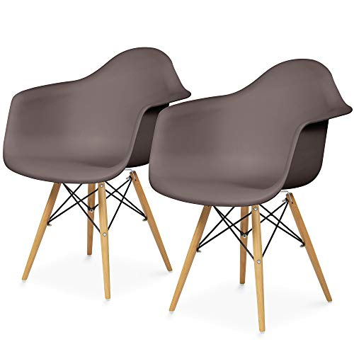 Best Choice Products Set of 2 Mid-Century Modern Eames Style Accent Arm Chairs for Dining, Office, Living Room - Taupe (Classics Dining Room Garden Chair)