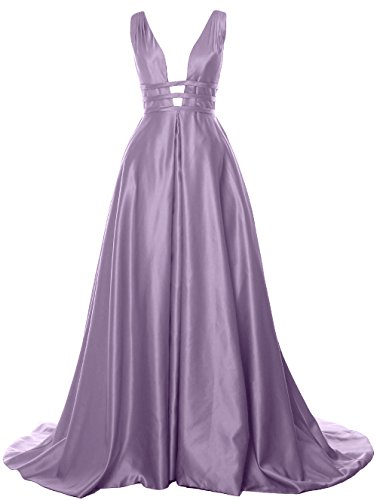 MACloth Ball Back Prom Neck Dress Evening Gown Open Wisteria Formal Satin Deep Long V rqX8F6wr