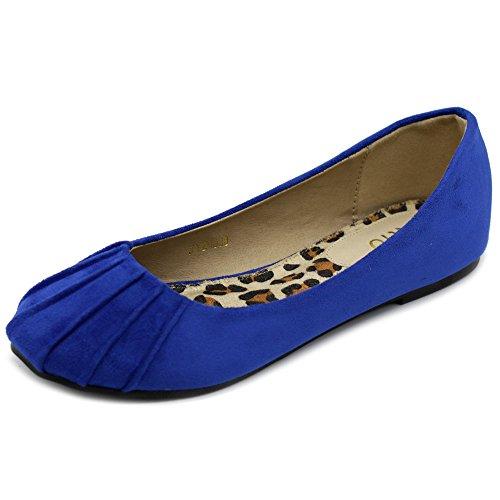 Ollio Women's Ballet Shoe Comfort Faux Suede Flat ZM1030(8.5 B(M) US, Royal (Buy Blue Suede Shoes)