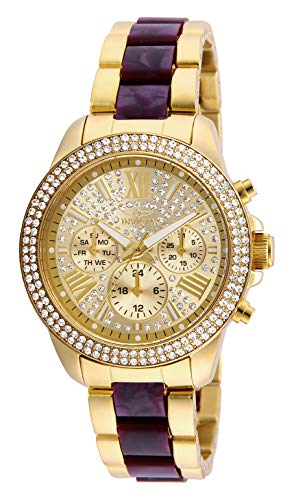 Invicta Women s Angel Quartz Watch with Stainless Steel Tortoise Strap, Two Tone, 18 Model 20508