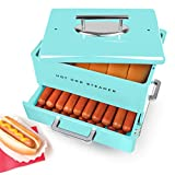 Nostalgia HDS248AQ Extra Large Diner-Style Steamer, 24 Hot Dogs and 12 Bun Capacity, Perfect For Breakfast Sausages, Brats, Vegetables, Fish-Aqua