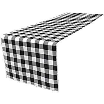 Beau LA Linen Poly Checkered Table Runner, 14 By 108 Inch, Black/White