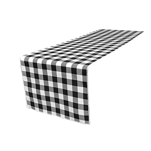 Gingham Table Runner (LA Linen Poly Checkered Table Runner, 14 by 108-Inch, Black/White)