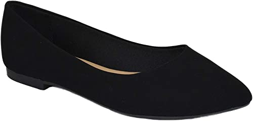 City Classified Women Casual Flat Shoes Wide Width Fit Pointy Toe Black W-HOLD