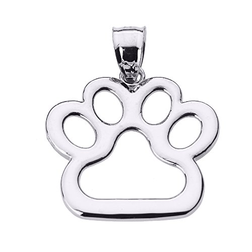 Dog Paw Sterling Silver Pendant - Polished 925 Sterling Silver Dog Paw Print Charm Pendant