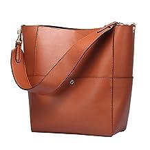 S-ZONE Women's Fashion Vintage Leather Tote Shoulder Bag Handbag Purse