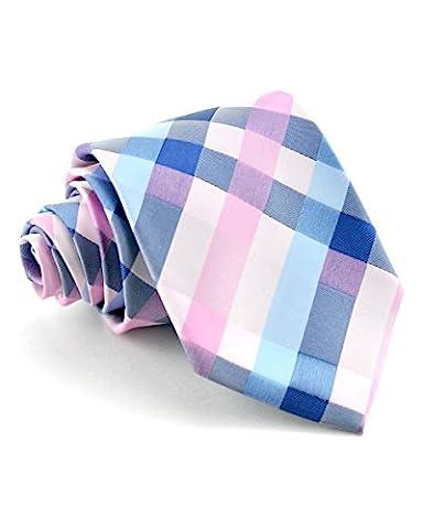 Littlest Prince Couture Blush and Blue Plaid Youth Necktie - Kids Necktie