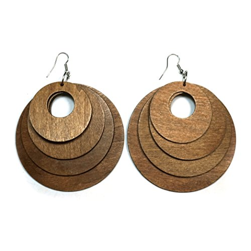 Teri's Boutique Boho Assorted Size Round Circle Dangle Fashion Jewelry Wood Earrings - Earrings Brown Wood