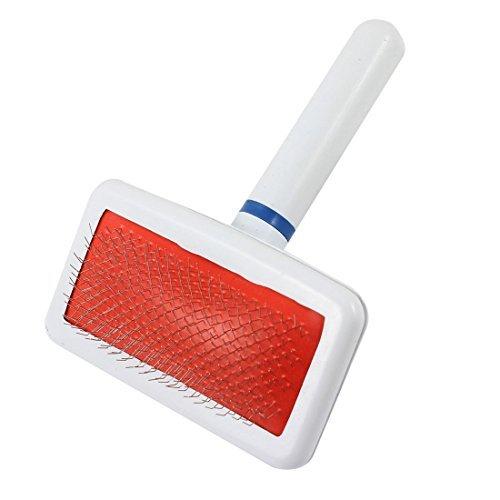 DealMux cabo de plstico Metal Wire Dog Pet Grooming escova de cabelo pente, branco / vermelho