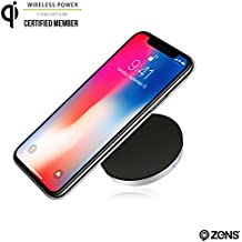 Wireless Phone Charger Pad by ZENS   Enables Wireless Qi Charging   Works with new iPhone 8/8+/X, Samsung Galaxy S6, S7, S8, Nexus, Note 7/8, Android, and all other Qi enabled devices