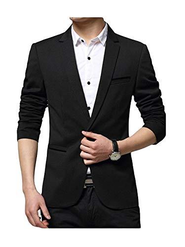 Swisswell In Casual Button Fit Slim Giacca Business Uomo Elegante Blazers Vestito Di Poliestere Affari Cappotto Da Nero rXSKxRwrq5