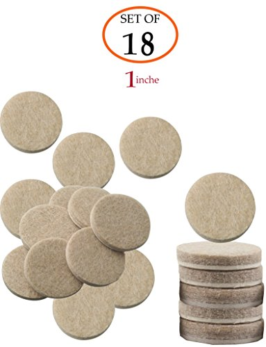 Self-Stick Beige Round Felt Pads 18-Piece Value Pack for Furniture Legs Protect Tile Linoleum Vinyl Wood Floors – 1 inch, (thickness: 5mm)