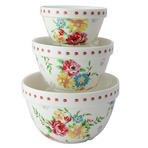 (Pantry Size 3-Pc Nested Porcelain Mixing Bowl Set by Grace Teaware. Microwave Safe, Freezer Safe. 3-Sizes 42, 22 and 10-Ounce. (Shabby Rose))