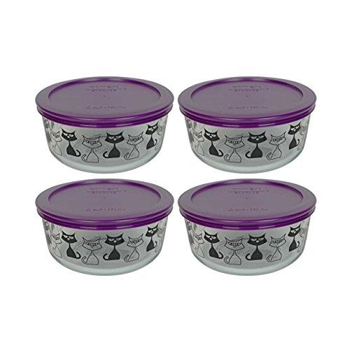 (4) Pyrex 7201 4 Cup Black Cat Glass Bowls & (4) 7201-PC Purple Plastic Lids