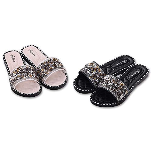 5b6bfc9aa15 iFANS Women Shiny Rhinestone Flat Gladiator Sandals Beach Sandals Shoes