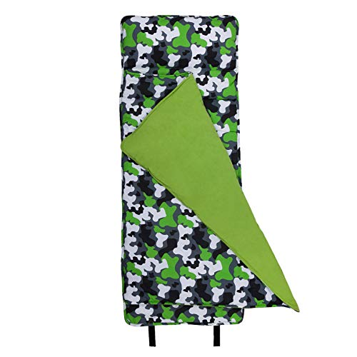 Wildkin Original Nap Mat, Features Built-In Blanket and Pillow, Perfect for Daycare and Preschool or Napping On-the-Go - Green Camo
