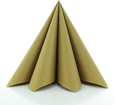 Sovie HORECA Airlaid-Servietten 40x40 cm | hochwertige Einweg-Servietten | extrem saugstark und stoffähnlich | ideal für Hochzeit & Partys | 50 Stück | Gold