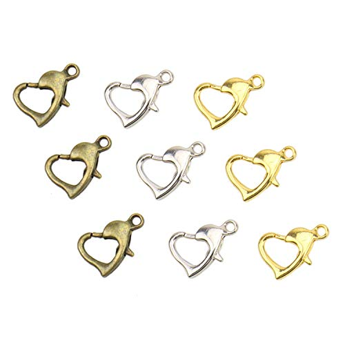 (JETEHO About 60 Pieces Heart Shape Lobster Claw Clasp with Open Jump Ring for Jewelry Making Findings, 12 x)