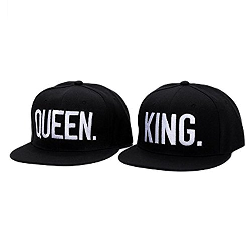 WENDYWU Hip-Hop Hats King and Queen 3D Embroidered Lovers Couples Snapback Caps Adjustable (White3)