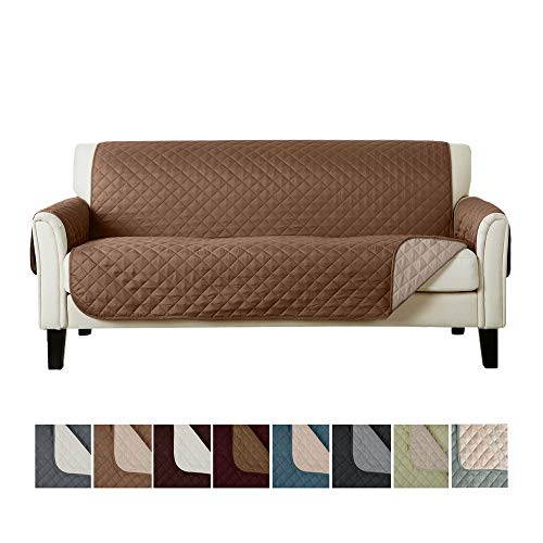 Deluxe Fashion - Home Fashion Designs Deluxe Reversible Quilted Furniture Protector. Perfect for Families with Pets and Kids. (Sofa/Couch, Fossil Brown/Birch)