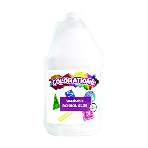 (Colorations Washable White School Glue (1 Gallon) - Adheres and Bonds Easily to Paper, Wood, Felt, Foam and More - Dries Clear and Flexible - Perfect for Slime and Art Projects - Washable, Non-Toxic)