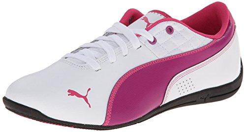 PUMA Drift Cat 6 Leather JR Sneaker (Little Kid/Big Kid), White/Vivid Viola/Beetroot Purple, 4 M US Big Kid ()