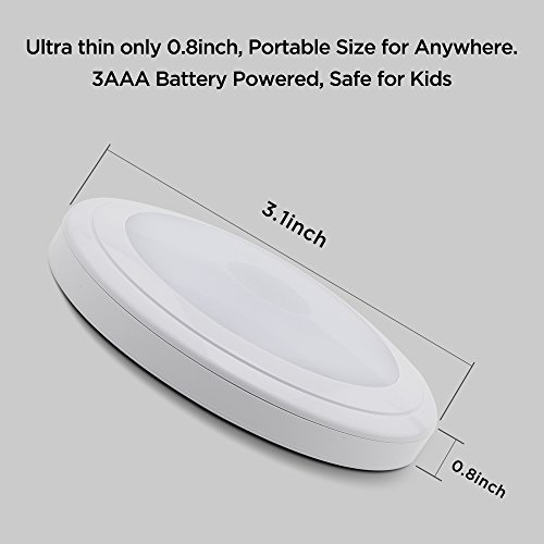 SOAIY Touch Light Battery Powered Ultra-Thin Touch Sensor LED Cabinet Lights, Magnet Stick-on Closet Light, LED Tap Night Lights for Kitchen, Bedroom, Stairs, Bar by SOAIY (Image #5)