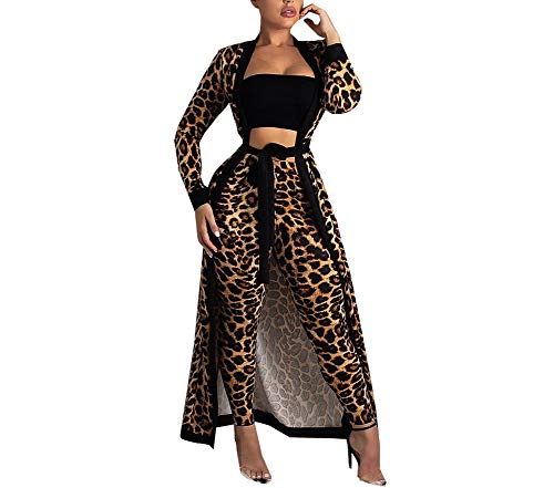 HAOAN Women Elegant Leopard Print Outfits Open Front Cardigan Belt Long Pants 2 Piece Set