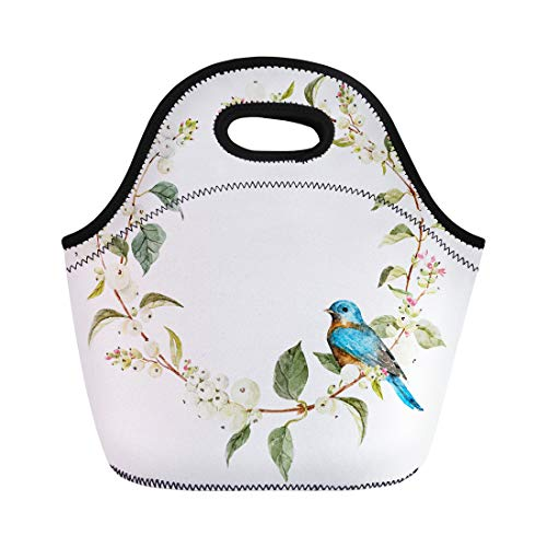 (Semtomn Neoprene Lunch Tote Bag Abstract Watercolor Winter Berry Wreath Bird Snowberry Round Blue Reusable Cooler Bags Insulated Thermal Picnic Handbag for Travel,School,Outdoors,Work)