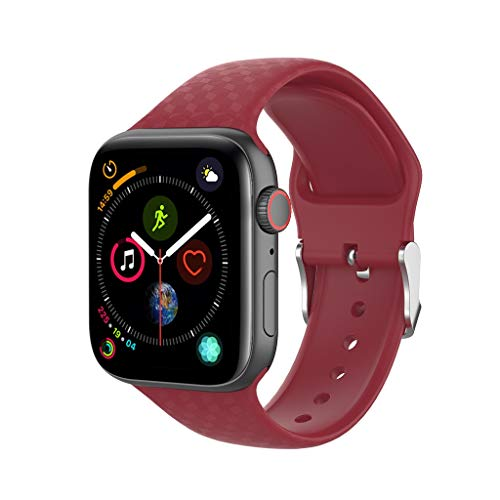 (Saying _Watch band for Apple Smart Watch Series 1/2/3/4 42mm 38mm, Silicone Replacement Strap Solid Color Square Three-Dimensional Printing Personality Wristband Sports Bracelet (Red, 42mm))