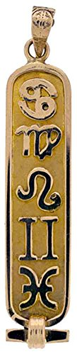 Personalized 18k Gold Astrological Cartouche with Zodiac Symbols - Solid Style - Made in - Pendant Egyptian Cartouche Gold